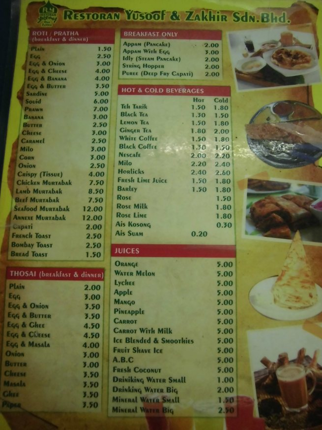 List menu di Restoran Yusoof dan Zakir